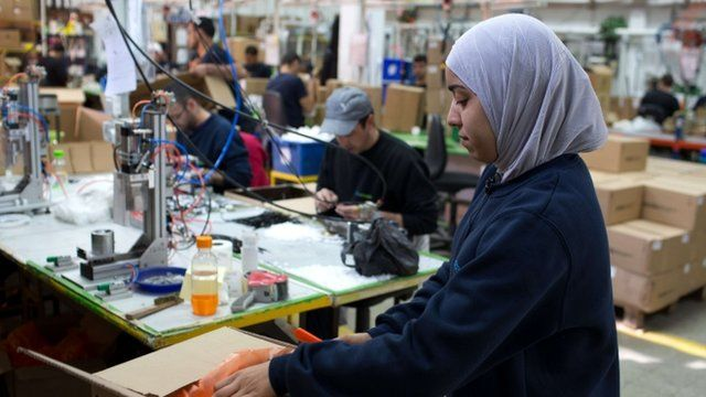 Palestinian employee at West Bank SodaStream plant