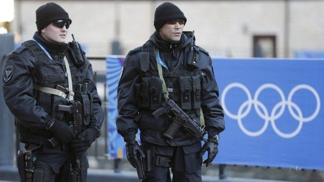 Russian security forces stand guard
