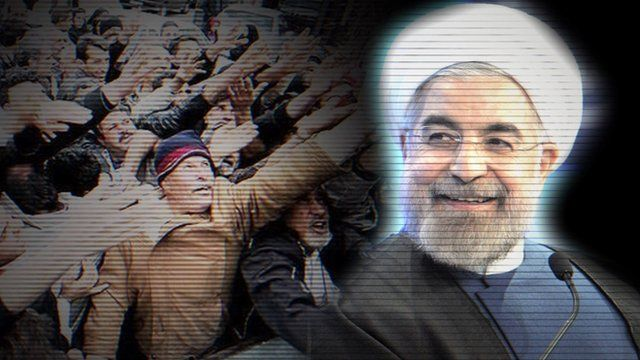 President Rouhani and Iranian citizens begging for food
