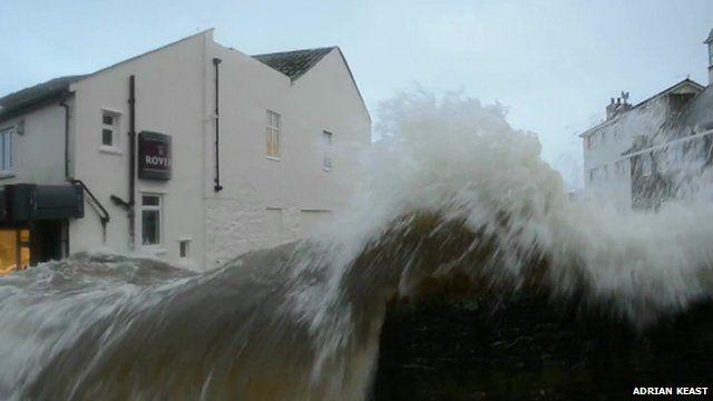 Video shows huge waves crashing into Newlyn, Cornwall