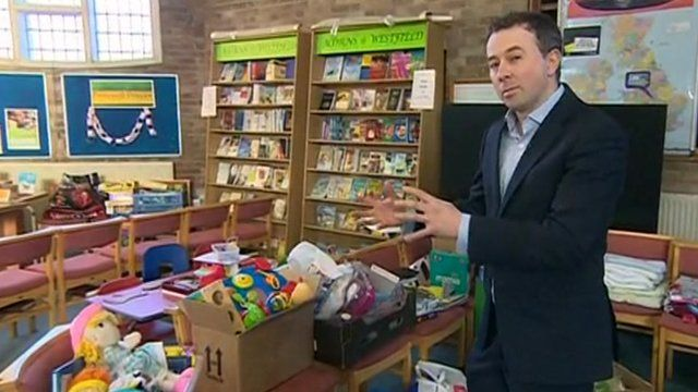 Simon Clemison in the children's section of the Bridgwater flood relief centre