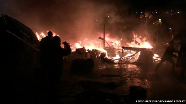 A still from amateur footage shows the fiery centre of the Kiev protests