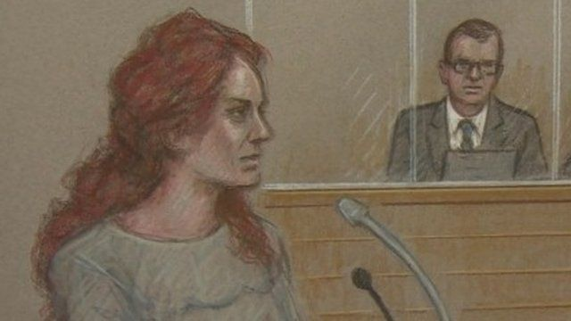 Rebekah Brooks giving evidence at Old Bailey during hacking trial. Andy Coulson in the background. Court sketch.