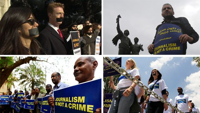 Demonstrators (clockwise from left) in London, Beirut, Khartoum and Nairobi protest over detention of three Al Jazeera journalists