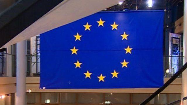 EU flag in Parliament building