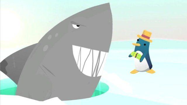 Still from animation of shark and penguin