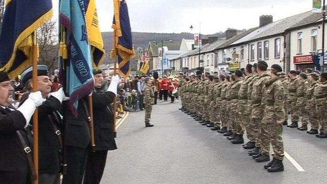 Members of 203 (Welsh) Field Hospital parade in Risca, Caerphilly