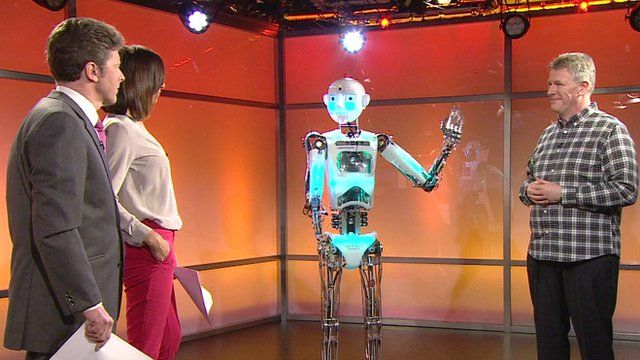 BBC Breakfast's presenters meet Robothespian and Nigel Crook