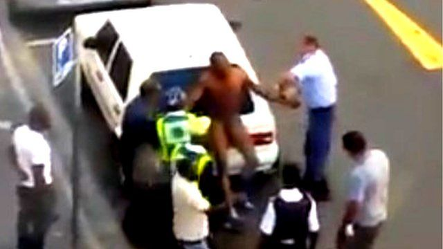 Video footage showing man attacked by South African police
