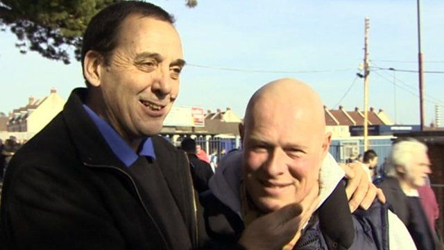 Terminally-ill Bristol City fan Mark Saunders and Bristol Rovers Chaplain Dave Jeal