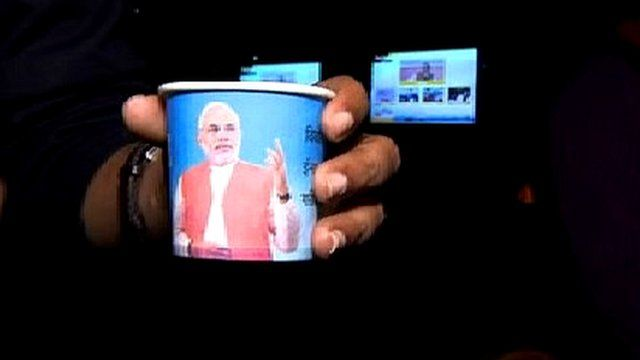 Cup of tea with image of BJP candidate Narendra Modi