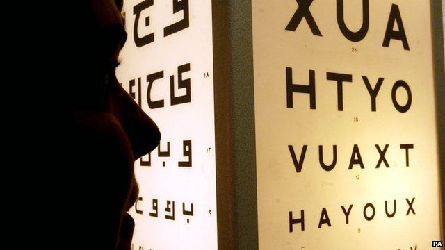 A person taking an eyesight test