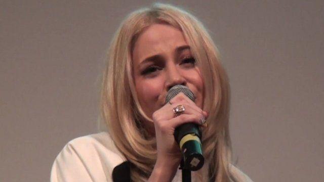 Pixie Lott singing at Ravens Wood School