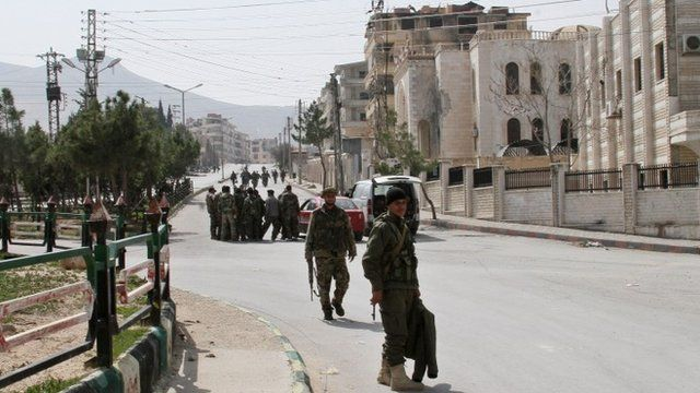 Syrian government forces in Yabroud town, Syria
