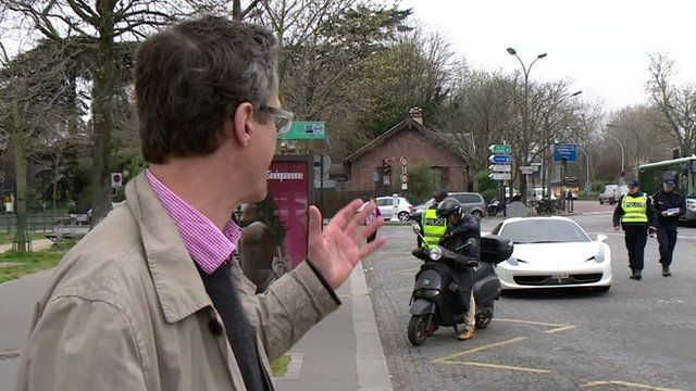 Police stopping motorists in Paris