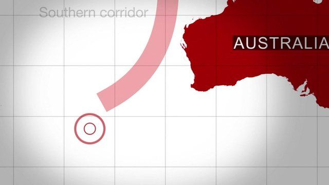A map identifying objected were spotted in the Southern Indian Ocean