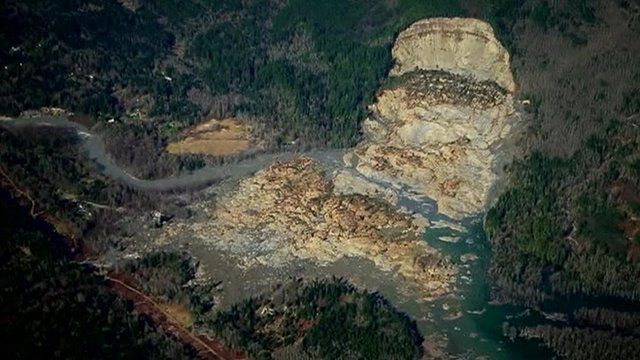 Aerial view of the mudslide
