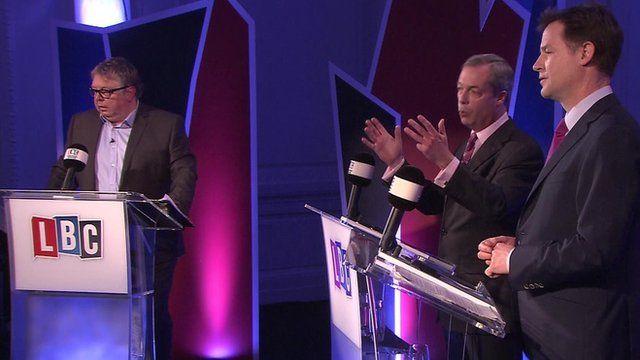 Nigel Farage and Nick Clegg debate immigration
