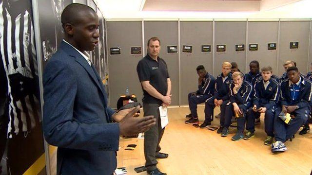 Fabrice Muamba talking to youths