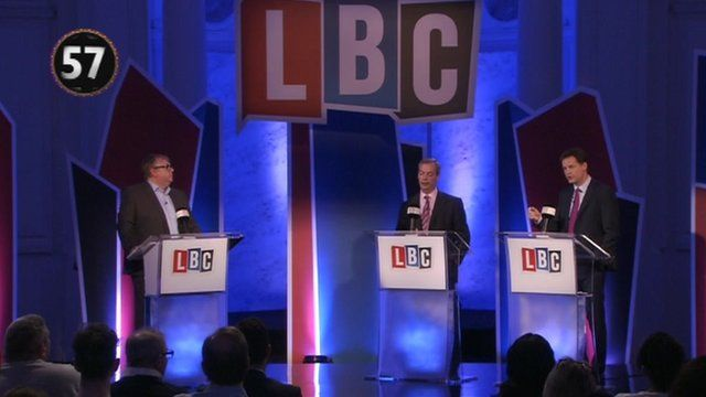 Nick Ferrari, Nigel Farage and Nick Clegg at LBC debate
