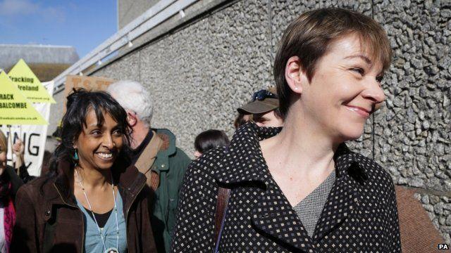 Caroline Lucas arriving at Brighton Crown Court