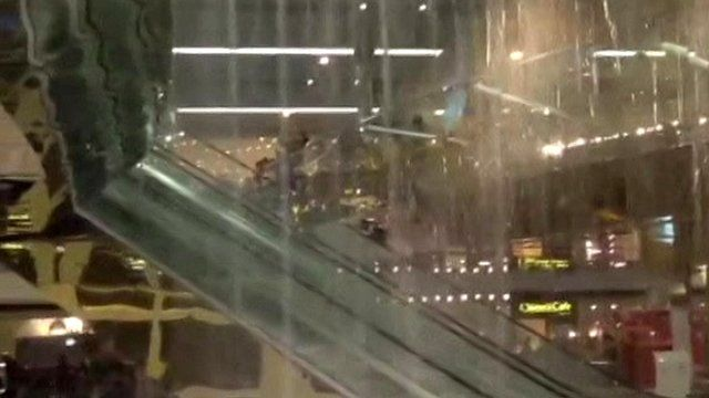 Rain inside shopping mall