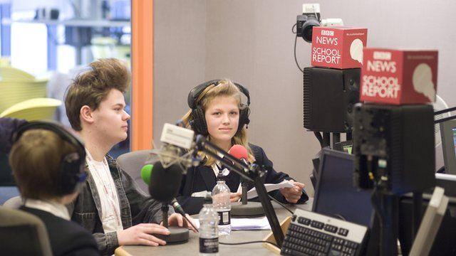 School Reporters in the BBC Radio Humberside studio
