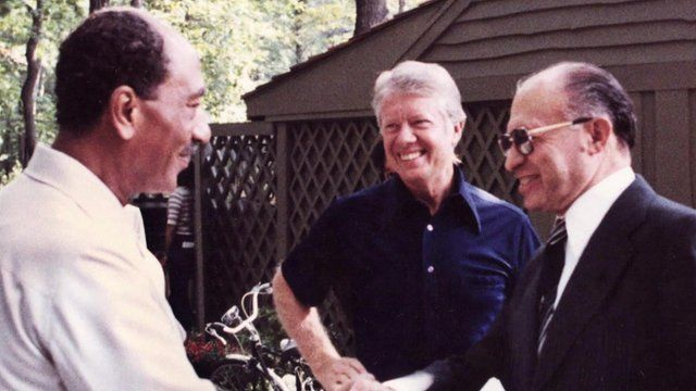 Anwar Sadat, Jimmy Carter, and Menachim Begin at Camp David