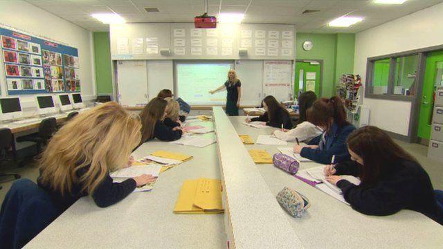 Ashfield Girls High School pupils in class