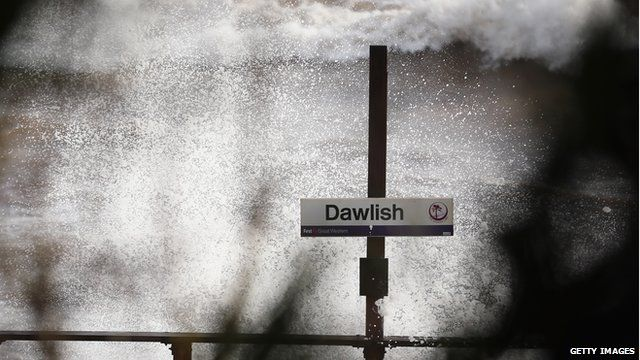 Stormswept Dawlish railway station sign