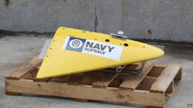 A Towed Pinger Locator sits on the wharf at naval base HMAS Stirling in Perth, Australia, ready to be fitted to the Australian warship Ocean Shield to aid in the search for missing Malaysia Airlines Flight MH370, 30 March 2014