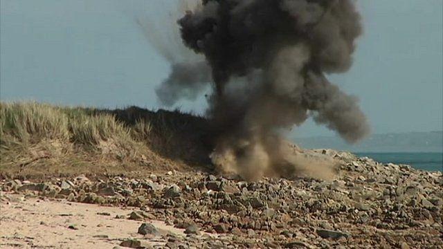WW2 explosive detonated on Alderney beach