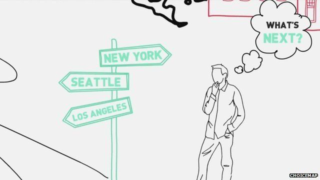 A graphic of a man thinking about a decision standing next to a signpost
