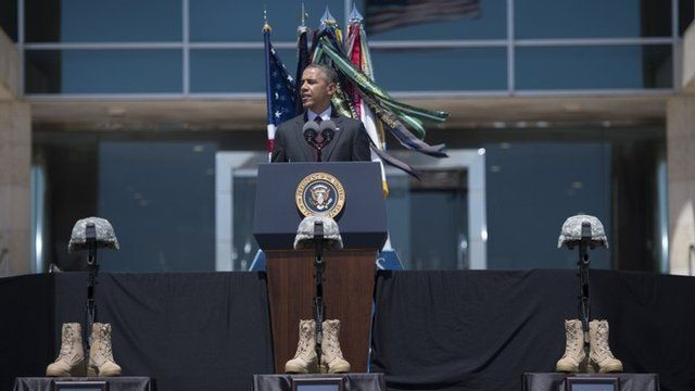 US President Barack Obama speaks during a memorial service at Fort Hood on April 9