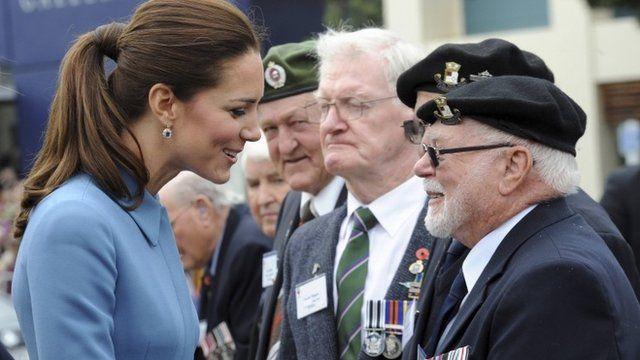 The Duchess of Cambridge talks to war veterans