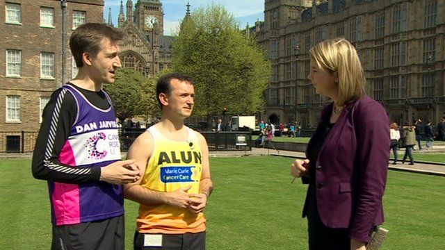 Dan Jarvis and Alun Cairns with reporter Alex Forsyth