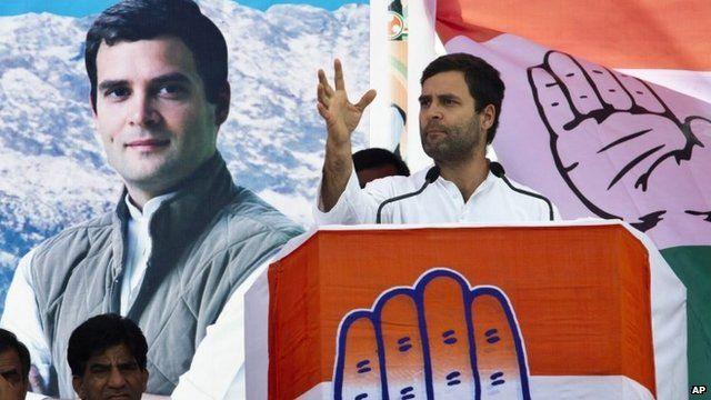 Rahul Gandhi speaking at election rally