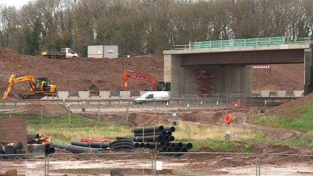 Building work for the motorway junction