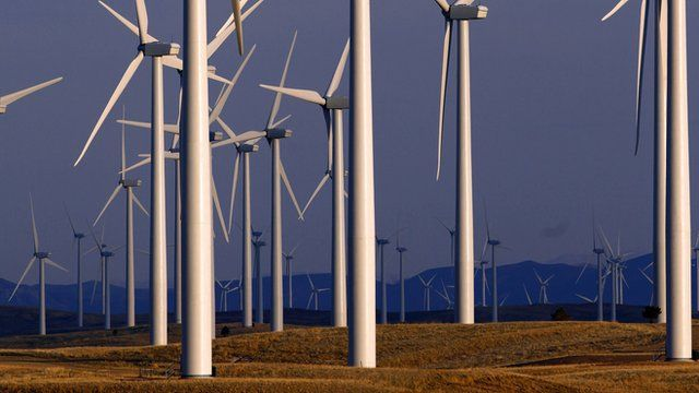 Wind turbine farm owned by PacifiCorp