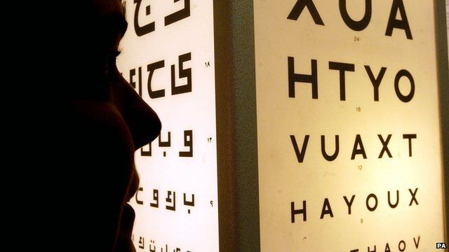 Person in an eye clinic