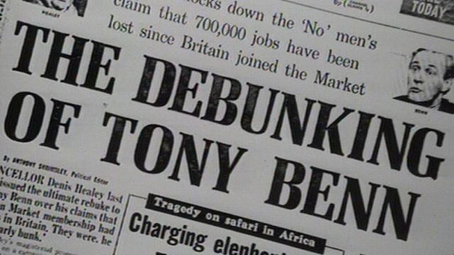 Daily Mail front page, 4 June 1975. Headline reads 'The Debunking of Tony Benn'