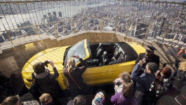 The 2015 Ford Mustang convertible on show on top of the Empire State Building