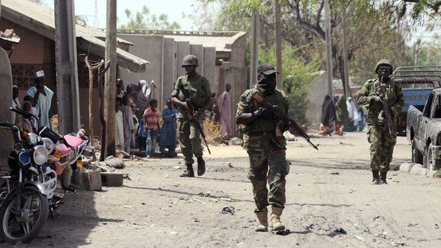 Nigerian troops patrolling in the streets