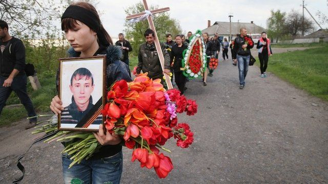 A funeral procession walks with the remains of 24-year-old Sasha, a pro-Russian activist, as they are carried from his familys home in the small village of Aleksandrovka to the village graveyard on April 22, 2014 near Sloviansk Ukraine