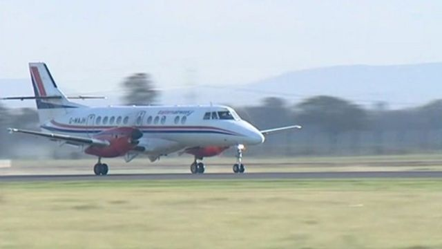 A plane takes off from Durham Tees Valley Airport
