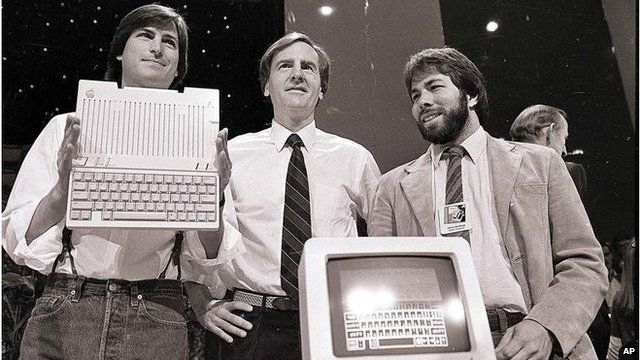 Former Apple CEO John Sculley (centre) with Steve Jobs (left) and Steve Wozniak (right)