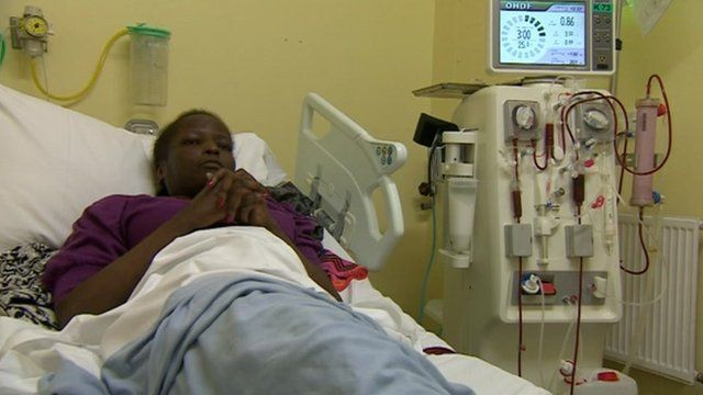 Maureen Roland on a dialysis machine