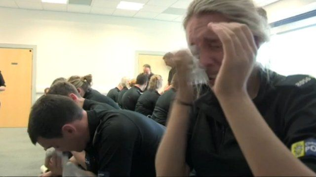 Trainee police special testing pepper spray (c) BBC