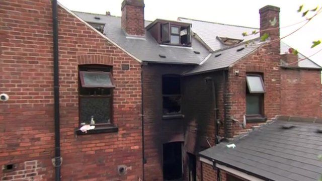 The aftermath from a house fire in Sheffield
