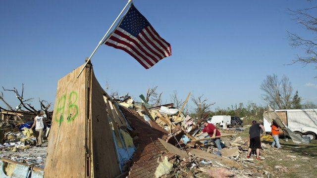Wreckage of homes after tornado damage